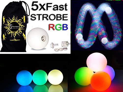 5x LED-Licht bis Kugeln Jonglierbälle 5er Set - Profi LED bälle+ Reisetasche! schnell STROBE