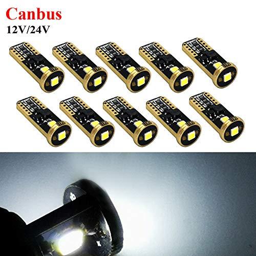 Ruiandsion T10 194 168 Ampoules LED Canbus sans erreur et non polarité Super lumineuses 12-24 V LED pour intérieur de voiture, carte dôme de courtoisie porte d'immatriculation Blanc (lot de 10)