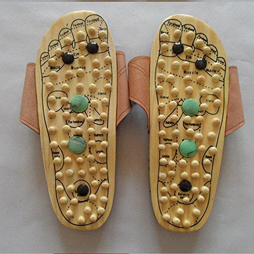 JIA HONG Terapia Magnetica Plus Punto di Agopuntura in Giada Pantofole Massaggianti in Legno Massaggiatore Plantare Massaggiatore Plantare,Yellow(44)
