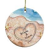 GiftsForYouNow Beach Couples Christmas Ornament, 2.75', Ceramic, Cute Beach Ornament, Couple Beach Ornament, Memorable Vacation Ornament