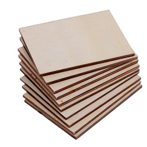 Sharplace 10er Pack Rechteck Holz Scheiben Holzschild natürliche Birke DIY Handwerk Verzierungen