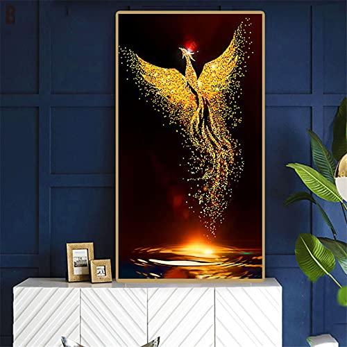 5D Pintura Diamante Kit, DIY Diamond Painting Fénix dorado Redondo/Cuadrado Cristal Diamante Bordado Pinturas Artes kit de Punto de Cruz Para Decoración de la Pared del Hogar 90x180cm