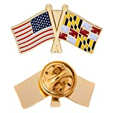 Maryland State Lapel Enamel with United States USA Souvenir Hat Men Women Patriotic (Double Flag Pin)