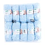Gründl Baby Uni Wolle, 70 % Polyacryl 30 % Polyamid, 10er pack, pastellblau, 35 x 32 x 8 cm