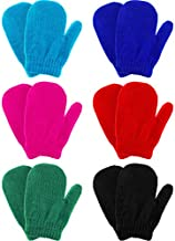 6 Pairs Winter Warm Knitted Mittens Gloves Stretch Mittens for Christmas Party Kids Toddler Supplies (Black, Rosy, Red, Blue, Dark Blue, Green)