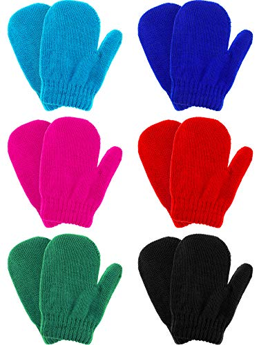 6 Pairs Winter Warm Knitted Mittens Gloves Stretch Mittens for...