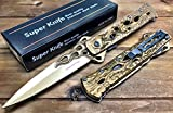 Spring Assisted Pocket Knife by Super Knife: Sharp and Strong Stainless Steel Blade, Folding Hunting Dagger for Survival and Defence, Variety of Designs and Colors (Gold)