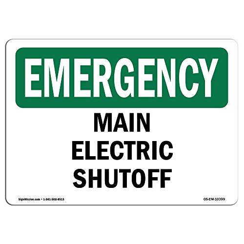 OSHA Emergency Sign - Main Electric Shutoff | Vinyl Label Decal | Protect Your Business, Construction Site, Warehouse & Shop Area | Made in The USA