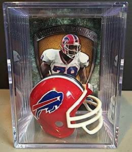 Buffalo Bills NFL Throwback Helmet Shadowbox w/ Bruce Smith card