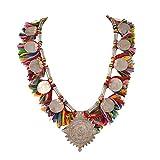 Zephyrr - Collana con ciondoli etnici alla moda, con nappine multicolore, da donna e Lega, colore: Silver, cod. JAN-637
