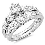 Dazzlingrock Collection 1.80 Carat (ctw) 14K Round Diamond Ladies 3 Stone Bridal Engagement Ring Set, White Gold, Size 4.5