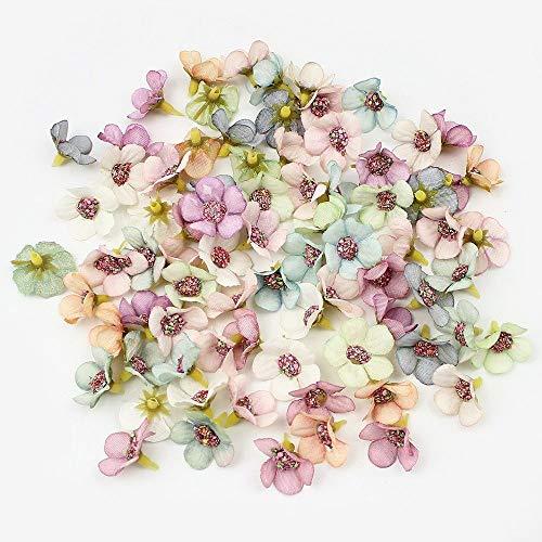 Barley33 100Pcs 2cm Cabezas de Flor de Margarita Multicolor Mini Flores Artificiales de Seda para Guirnalda Scrapbooking Decoración de la Boda en el hogar