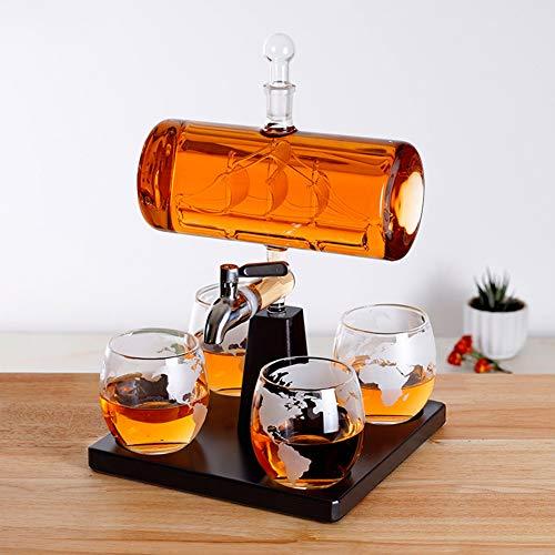 ESGT Decanter per Vino 5 Pezzi/Set Decanter Creativo Antico a Forma di Barca Decanter in Vetro per Whisky con Vin Decanter Set Combinato per 4 Tazze Aerazione per Whisky
