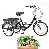 DIFU, triciclo per adulti, 3 biciclette, 20 pollici, bicicletta da donna, 8 velocità, triciclo con cestino, carico massimo 110 kg, per anziani, città, outdoor, shopping, nero