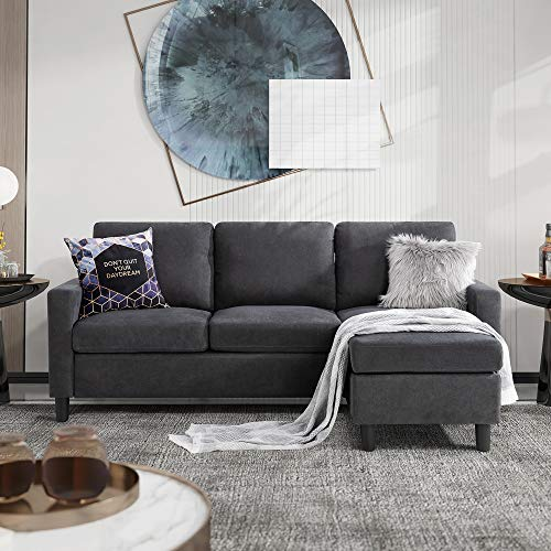 Walsunny Convertible Sectional Sofa for Small Space, L-Shaped Couch with Modern Linen Fabric (Grey)