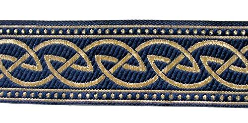10m Keltische Borte Webband 35mm breit Farbe: Blau-Gold von 1A-Kurzwaren 35034-blgo