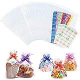 ZERHOK 100pcs Bolsas de Celofán 18*25cm Bolsas Transparentes para Regalos Envasado de Pan y Galletas Bolsa de Dulce para Fiesta Boda Cumpleaños (con 100pcs cintas de regalo colores y 120pcs pegatinas)