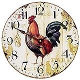 Reloj de pared para el hogar, estilo retro, silencioso, reloj de madera de cuarzo, decoración de pared grande para sala de estar, habitación de niños, café o bar (14 pulgadas)