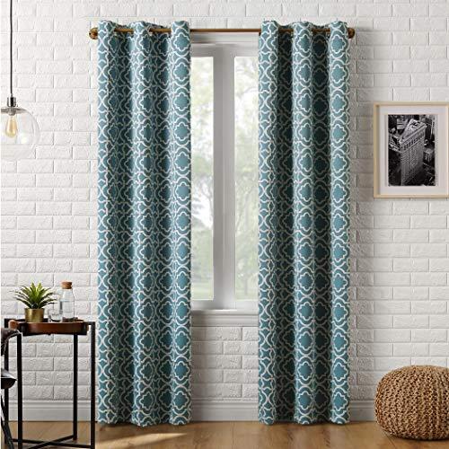 "Sun Zero Barnett Trellis Blackout Grommet Curtain Panel, 40"" x 84"", Aqua"