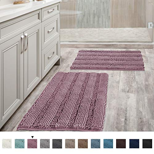 Mauve Bathroom Rugs Ultra Thick and Soft Texture Chenille Plush Striped Floor Mats Hand Tufted Bath Rug with Non-Slip Backing Microfiber Door Mat for Kitchen/Entryway (Pack 2-20' x 32'/17' x 24')