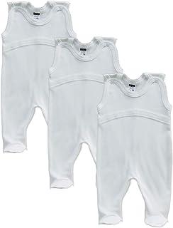 MEA BABY Unisex Baby Strampler aus 100% Bio-Baumwolle im 3er Pack. Baby Strampler Weiß Creme. Baby Strampler für Mädchen Baby Strampler für Jungen.