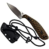 """Revolt RAPT'R EDC Fixed Blade Neck Knife with Sheath - Stainless Steel Blade, Textured G10 Handle, Injection Molded Sheath, Fire Cord Paracord With Ferro Rod Toggle - Survival Knife Compact Utility Minimalist Tactical Neck Knife - Overall Length 5.5"""""""