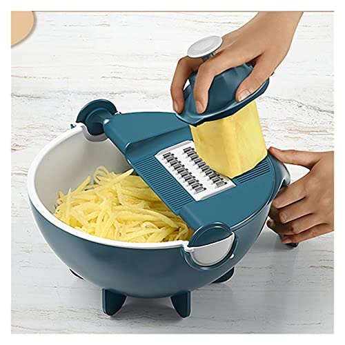 LUCHAO Cortador Vegetal Multifuncional y rebanador de Patata rebanadora de Zanahoria Accesorios de Cocina de Fruta Drenaje de Fruta Cesta de la verdura Chopper (Color : Azul)