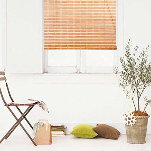 THY COLLECTIBLES Natural Bamboo Roll Up Window Blind Roman Shade Sun Shade WB-9A1 (W48 X H84)