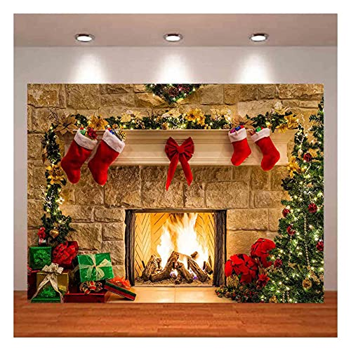 Christmas Photography Backdrops Christmas Fireplace Decoration Background for Photo Happy Holiday Party Decoration Props 7x5ft