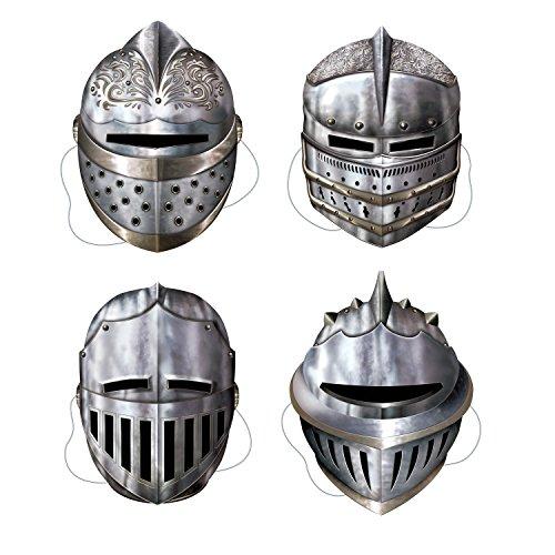 Beistle 66802 Lot de 4 masques de chevalier 30,5 cm