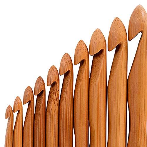 Vejaoo 12 piezas Agujas De Crochet De Bambú Tejer Ganchos Conjuntos Kit Hileras Craft Set