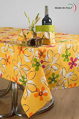 Esse Home tafelkleed voor voorjaar en zomer, rechthoekig, van katoenmix, vervaardigd in Italië, handgemaakt product