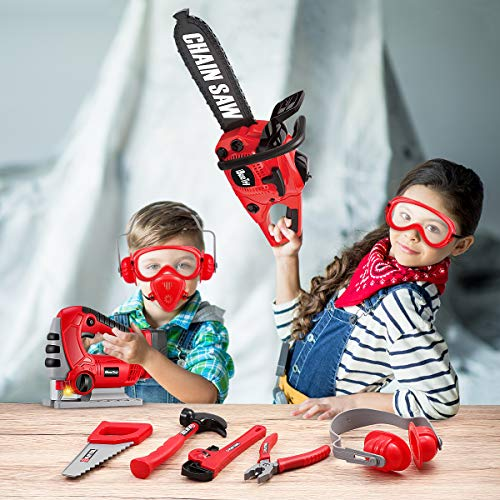 iBaseToy Toy Chainsaw, Kids Chainsaw Toys Tools with Jig Saw and Realistic Sounds and Lights