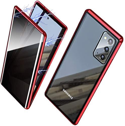ONEYMM Funda para Samsung Galaxy S20 FE 5G Carcasa Adsorción Magnética Metal Caso Cobertura Anti espía Vidrio Templado Case Cover,Rojo,for Samsung S20 FE