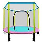 XLHLXW Trampolín Para niños Con cerramiento de seguridad Red Bounce Spring Toddler Niños Actividades al Aire Libre en interiores Fácil de montar Adecuado Para niños de 1 a 7 años,55 inches