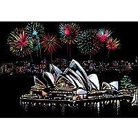 ギフトクリスマス絵画子供アダルトDIYおもちゃ塗装紙で描画スティックDIY有名な建物を塗装40x28cmマジックスクラッチアート (Sydney Opera House)