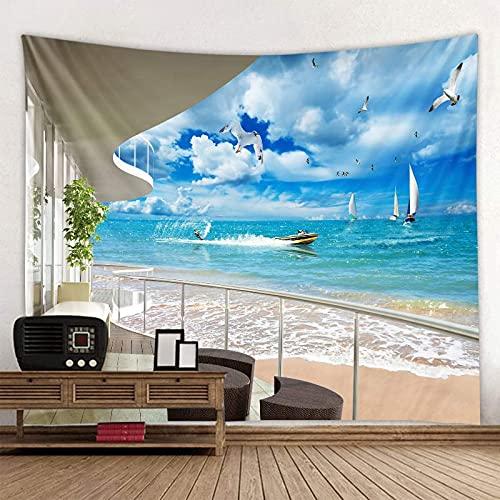 Playa Balcón Tapiz de Paisaje Hermoso Bosque Marino Paño para Colgar Paño de decoración de Pared Tamaño Extra Grande Opcional A25 130x150cm