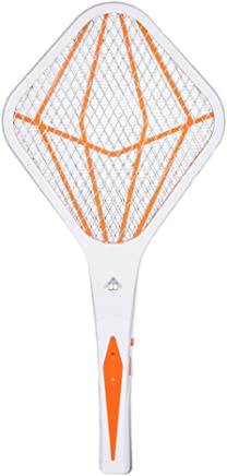 OUNONA Electric Fly Swatter Battery-Operated Bug Flies SWAT Wasp USB Mosquito Pest Control with Long Handle (Orange)