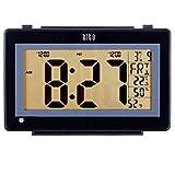 HITO 6.3' Large Digital Battery Atomic Alarm Clock Desk Wall Clock Self Setting Dual Alarm Auto Night Light 6 Timezones Date Day Indoor Temperature Humidity Adjustable Brightness