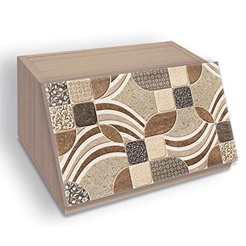 Portapane NEW, Contenitore per Cibo Secco con decoro LEAVES in legno VINTAGE 30x40x20 cm