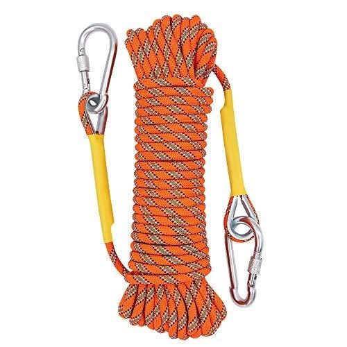 X XBEN 8mm Hochfestes Polyester Sicherheitsseil Outdoor Klettern Rettungsseil 20m Orange mit Stainless Steel thimbles und Karabiner für Anwendungen Notüberleben, Feuerrettung