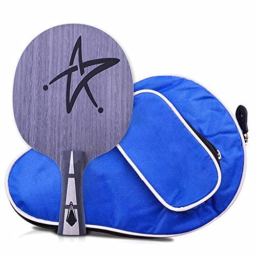 HXFENA Placa Inferior de Raquetas de Tenis de Mesa,Palas de Ping Pong Ofensiva Profesional 7 Capas de Placa Inferior de Madera Pura con Bolsa de Transporte/A/mango largo