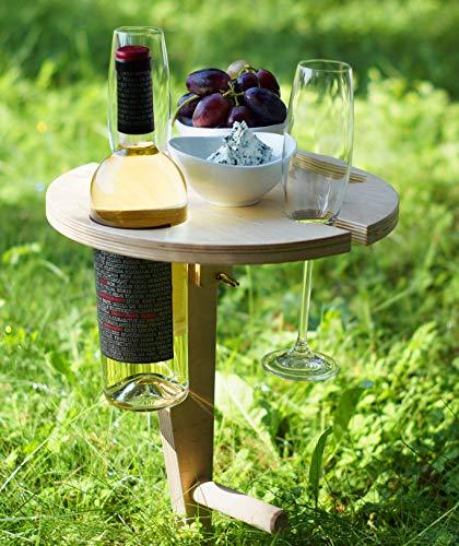Weinregal Holz für Picknick mit klappbarer Platte, Picknicktisch mit bequemer Koffer, Wein Geschenk Idee, Campingtisch Outdoor Tisch, Camper, Wanderer, Angler sowie Outdoor begeisterte, Weinliebhaber