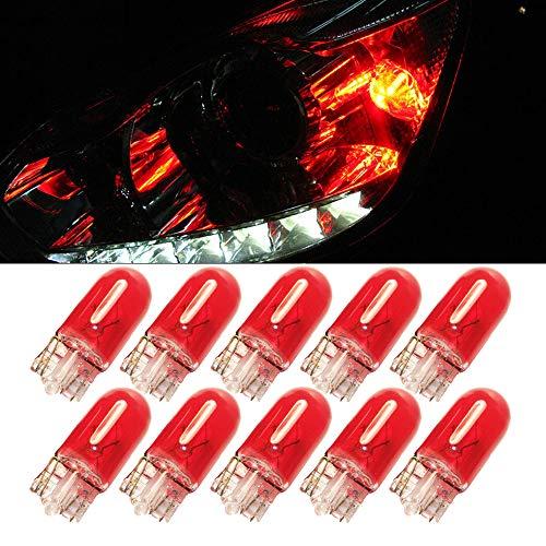Red T10 W5W Luz de coche – 10 piezas 194 168 501 bombilla halógena de repuesto de gas xenón para placa de vehículo luz brillante DC 12 V