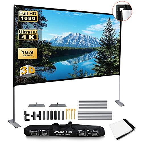 Beamer Leinwand, Projektor Leinwand mit Faltbarem Stand 100 Zoll HD 4K Outdoor Indoor Projector Screen 16: 9 für Heimkino, Camping und Freizeitveranstaltungen.