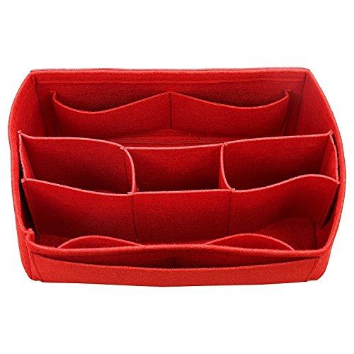 Vilten tote-organizer (Middle vakken), zak in zak, portemonnee, cosmetische make-up handtas, LV-Delightfull-MM - Red (rood) - FELT-C-22-RED