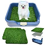 [DogCharge] Indoor Dog Potty Tray (Blue) with 2 Artificial Turf – with Protection Wall Every Side for No Leak, Spill, Accident - Keep Paws Dry and Floors Clean