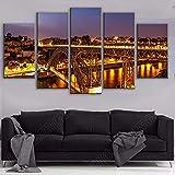 5 piezas de arte de pared impresiones de carteles de paisaje nocturno cuadros de lienzo Porto Ponte Dom Luis I luces de puente pintura sala de estar decoración del hogar-200 * 100 cm-enmarcado