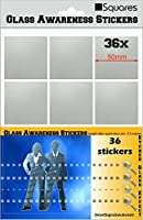 36 SQUARES Glass Awareness Stickers 50mm Etched Effect Frosted Film Patio Doors Shops Office Public Areas …