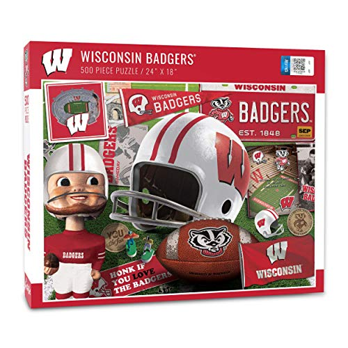 YouTheFan NCAA Wisconsin Badgers Retro Series Puzzle - 500 Pieces, Team Colors, Large